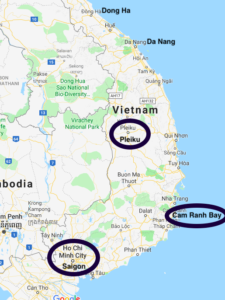 Map of Vietnam showing Pleiku, Cam Ranh Bay, and Saigon