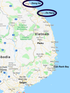 Map showing Dong Ha and Da Nang in Vietnam