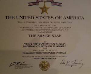 Rick Adler's Silver Star Citation