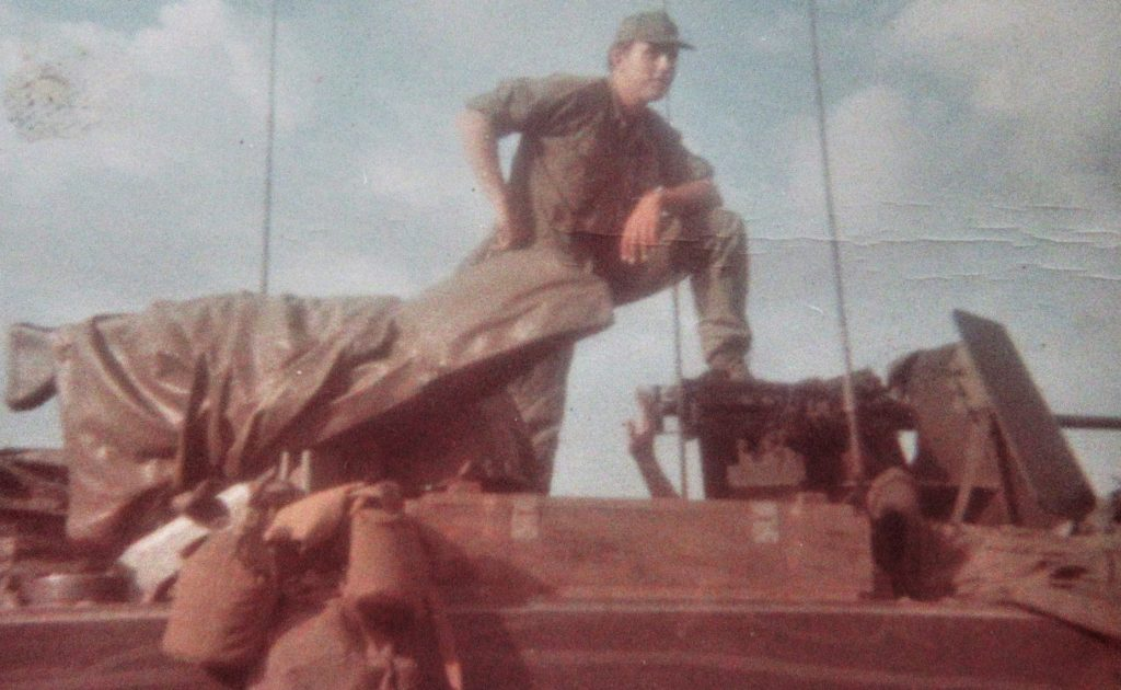 Color photograph of 1st Lieutenant Dave Anson, U.S. Army with the 3rd Battalion, 5th Cavalry Regiment in Vietnam in the fall of 1968.