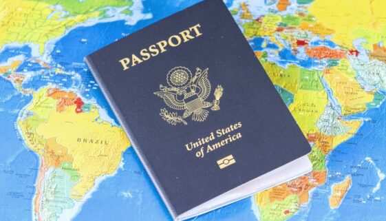 Image of U.S. passport on a map of the world