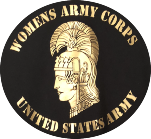Image of Women's Army Corps insignia with ancient warrior emblem.