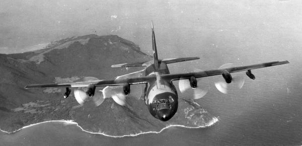 John Heimburger flying a C-130 over Okinawa